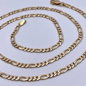 """14kt YG Italy 8.4g Etched Figaro Link Chain 21"""""""